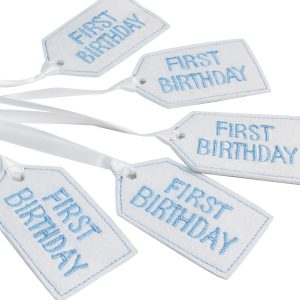 First Birthday Felt Gift Tag Blue by Kate Finn Australia