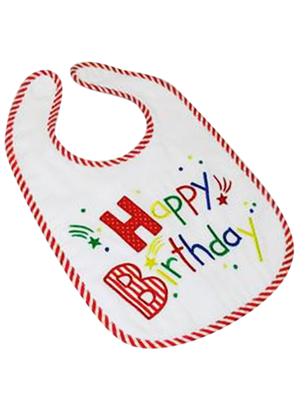 Happy Birthday Bib Red by Kate Finn Australia