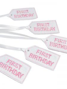 First Birthday Felt Gift Tag Pink by Kate Finn Australia
