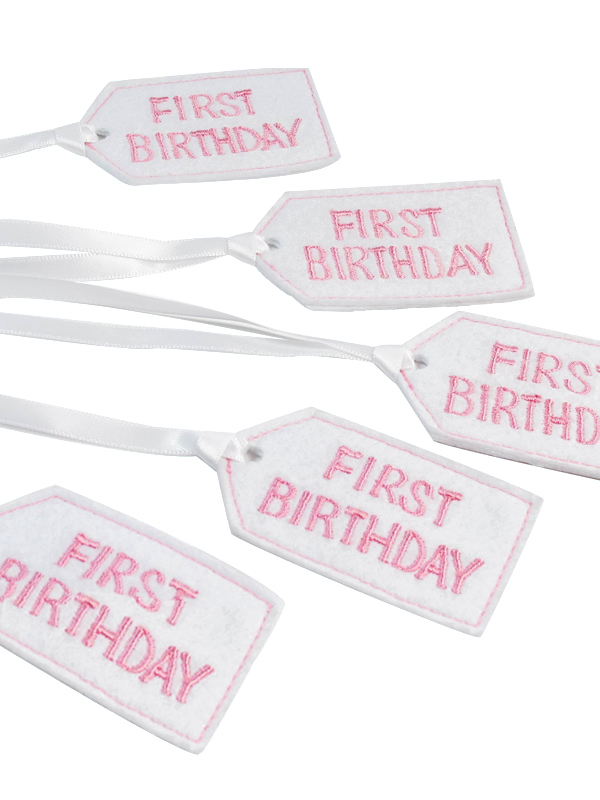 First Birthday Felt Gift Tag Pink by Kate Finn Australia