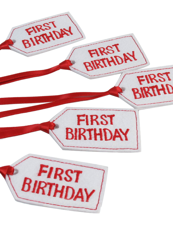 First Birthday Felt Gift Tag Red by Kate Finn Australia