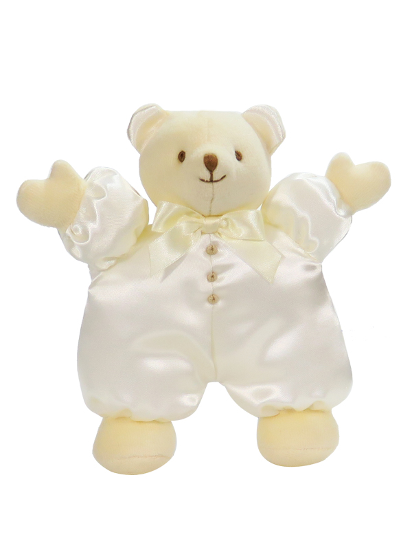 Cream Satin Puff Bear Baby Toy