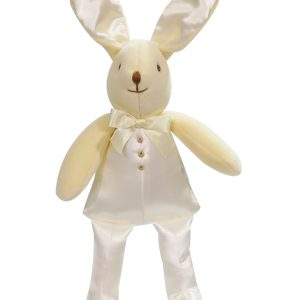 Cream Satin Bunny Squeaker Baby Toy by Kate Finn Australia