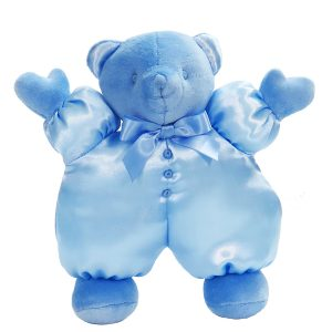 Blue satin Puff Bear Baby Toy