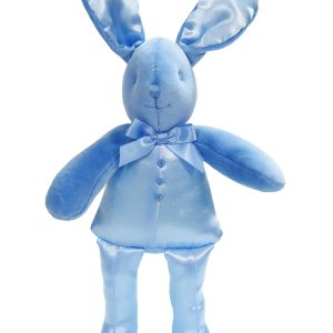 Blue Satin Bunny Squeaker Baby Toy by Kate Finn Australia
