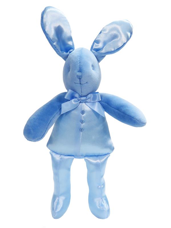 Blue Satin Bunny Squeaker Baby Toy by Kate Finn Australia