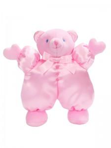 Pink Satin Puff Bear Baby Toy