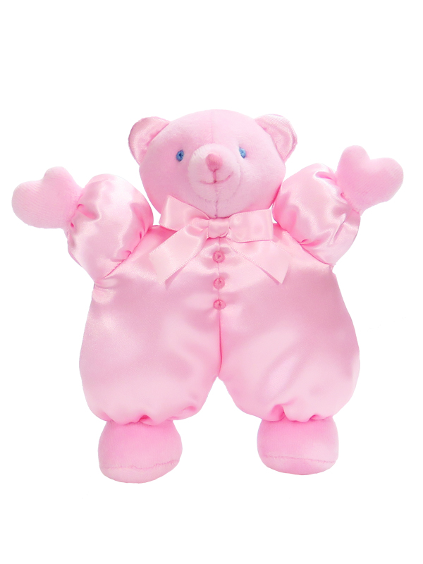 Pink Satin Puff Bear Baby Toy