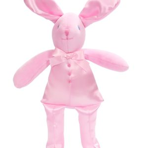 Pink Satin Bunny Squeaker Baby Toy by Kate Finn Australia