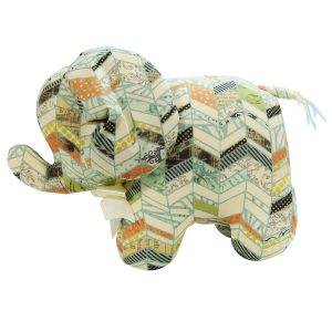 Chevron Patchwork Elephant Baby Toy by Kate Finn Australia