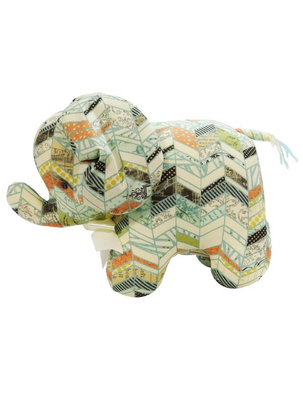 Chevron Patchwork Elephant Baby Toy by Kate Finn Australia