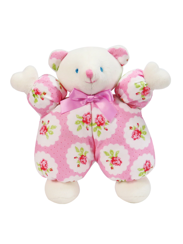 Pink Lulu Roses Puff Bear Baby Toy by Kate Finn Australia