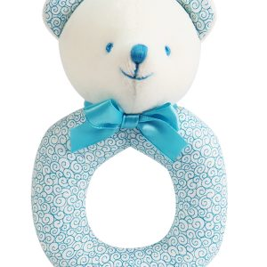 Aqua Swirls Bear Baby Ring Rattle