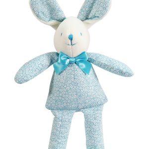Aqua Swirls Bunny Squeaker Baby Toy by Kate Finn Australia