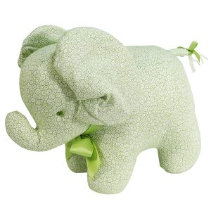 Green Swirls Elephant Baby Toy by Kate Finn Australia