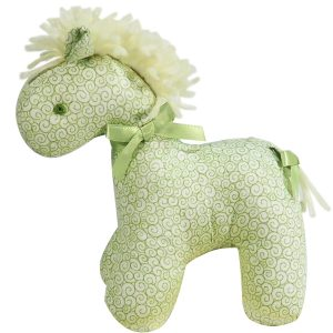 Green Swirls Mini Horse Baby Toy by Kate Finn Australia