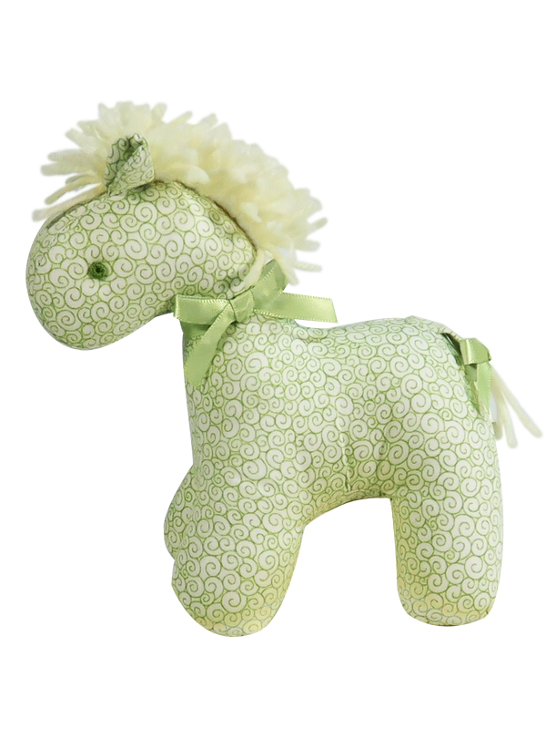 Green Swirls Mini Horse Baby Toy by Kate Finn Australia