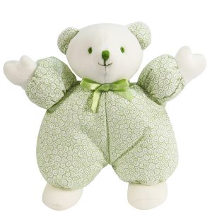 Green Swirls Puff Bear Baby Toy