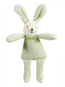 Green Swirls Bunny Squeaker Baby Toy by kate Finn Australia
