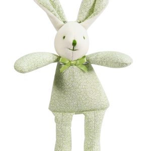 Green Swirls Bunny Squeaker Baby Toy by kate Finn Australia