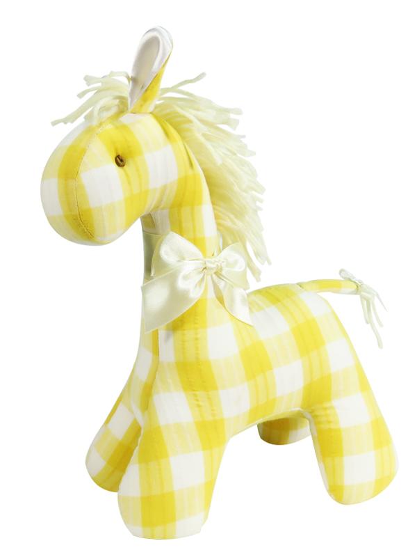 Lemon Check Horse Baby Toy by Kate Finn Australia