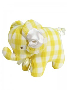 Lemon Check Elephant Baby Toy by Kate Finn Australia