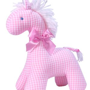 Pink Seersucker Check Horse Baby Toy by Kate Finn Australia