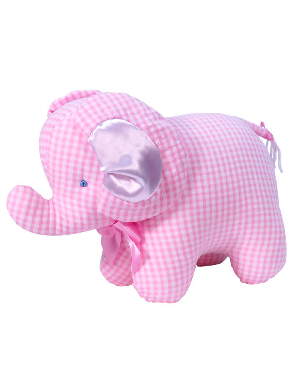 Pink Seersucker Check Elephant Baby Toy by Kate Finn Australia