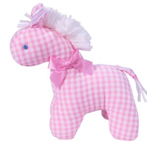 Pink Seersucker Check Mini Horse Baby Toy by Kate Finn Australia