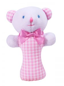 Pink Seersucker Check Bear Baby Rattle by Kate Finn Australia