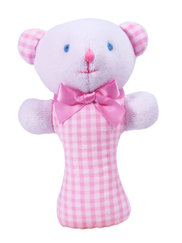 pink seersucker check bear baby rattle designed and sold by kate finn