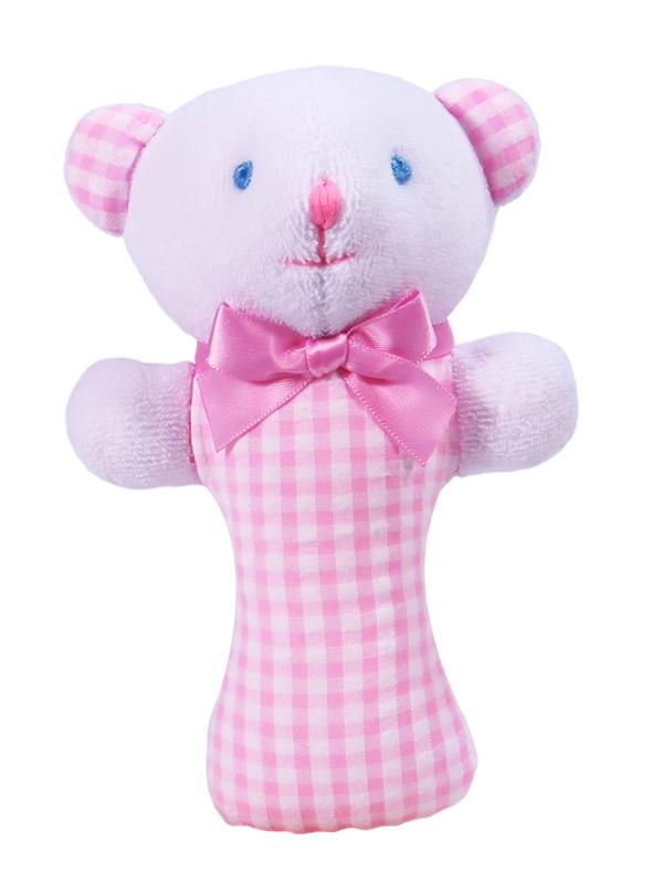 Pink Seersucker Check Bear Baby Rattle by Kate Finn Australia