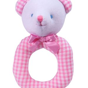Pink Seersucker Check Bear Baby Ring Rattle by Kate Finn Australia