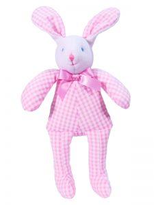 Pink Seersucker Check Bunny Squeaker baby Toy by Kate Finn Australia