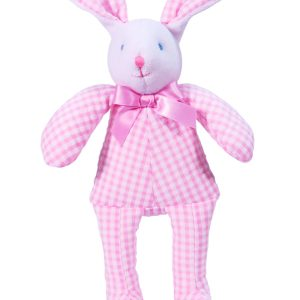 Pink Seersucker Check Bunny Squeaker baby Toy by Kate Finn Australia