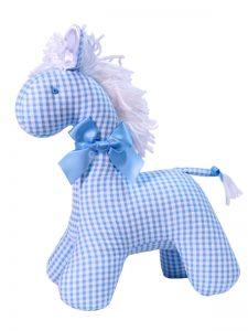 Blue Seersucker Check Horse Baby Toy