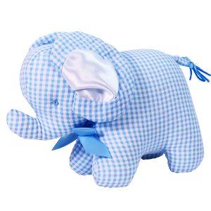 Blue Seersucker Check Elephant baby Toy by Kate Finn Australia