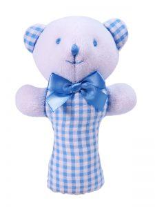 Blue Seersucker Check Bear Baby Rattle by Kate Finn Australia
