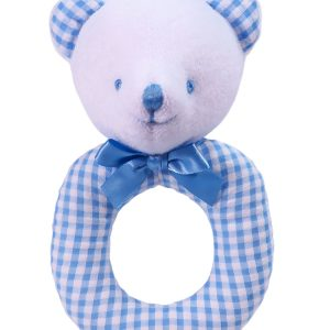 Blue Seersucker Check Bear Baby Ring Rattle