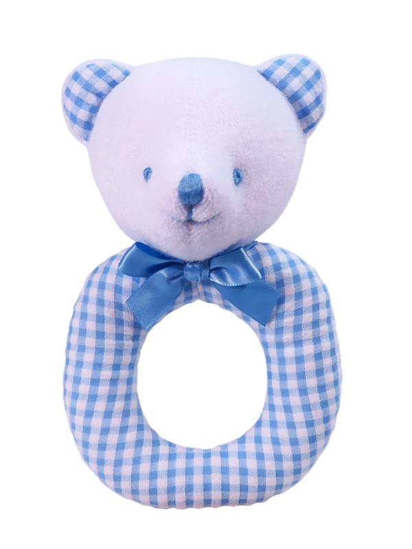 Blue Seersucker Check Bear Baby Ring Rattle