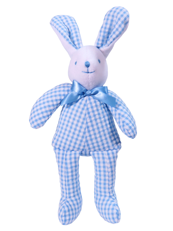 Blue Seersucker Check Bunny Squeaker Baby Toy by Kate Finn Australia