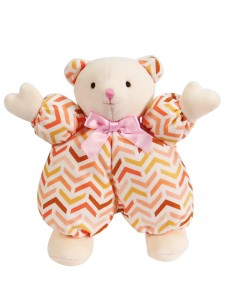 Peach Chevron Puff Bear Baby Toy