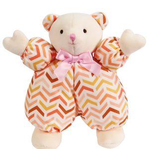 Peach Chevron Puff Bear Baby Toy