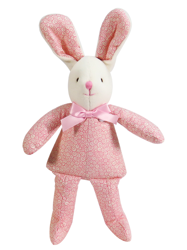 Peach Swirls Bunny Squeaker Baby Toy by Kate Finn Australia