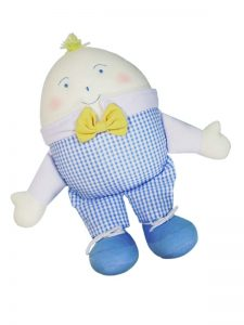 Humpty Dumpty Baby Toy Blue Seersucker Check by Kate Finn Australia