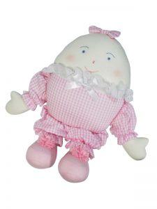 Humpty Dumpty Baby Toy Pink Seersucker Check by Kate Finn Australia