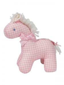 Pink Check Mini Horse Baby Toy by Kate Finn Australia