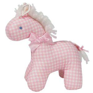 Pink Check Mini Horse Baby Toy by Kate Finn Australia