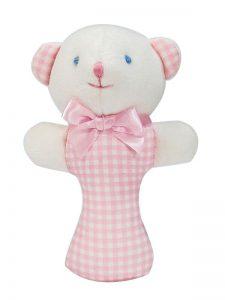 Pink Check Bear Baby Rattle by Kate Finn Australia