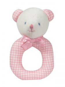 Pink Check Bear Baby Ring Rattle by Kate Finn Australia
